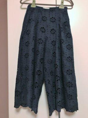 Mint&berry Pantalon taille haute bleu foncé coton
