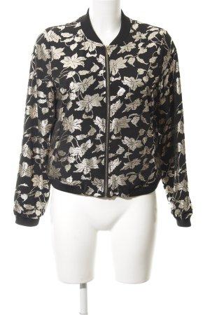 Mint&berry Blouson noir-crème motif floral style décontracté
