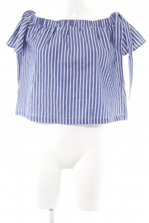 Mint&berry Carmen Blouse steel blue-white striped pattern casual look