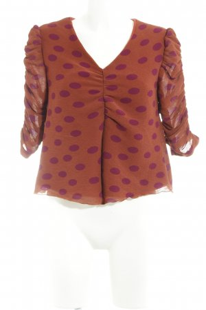 Mint&berry Cropped shirt roodbruin-paars gestippeld patroon extravagante stijl