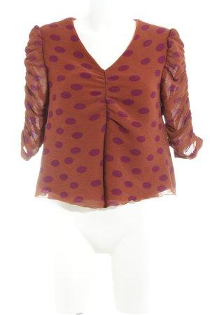 Mint&berry Cropped Shirt rostrot-purpur Punktemuster extravaganter Stil