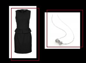 Mint & Berry - Elegantes Kleid Gr. 36 & versilberte Halskette