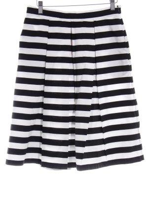 Mint&berry Falda acampanada negro-blanco estampado a rayas look casual