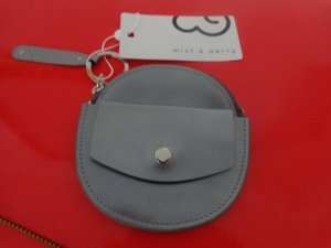 Wallet silver-colored-grey leather