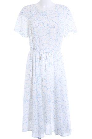 Mint&berry Kurzarmkleid weiß-kornblumenblau Blumenmuster Casual-Look