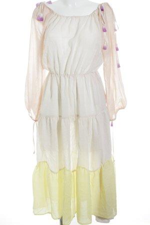 Mint&berry Langarmkleid nude-blassgelb Streifenmuster extravaganter Stil