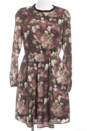 Mint&berry Langarmkleid rostrot-schwarz Blumenmuster Casual-Look