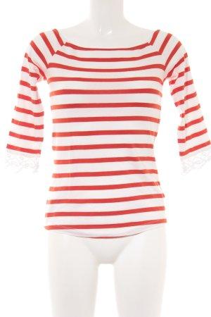 Mint&berry Longsleeve weiß-rot Streifenmuster Casual-Look