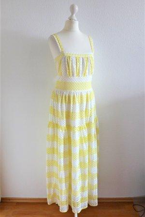 mint & berry Maxi Boho Spitze Kleid weiß gelb Gr. 36 S