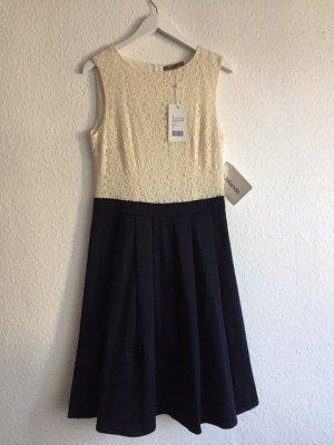 *Mint & Berry* Midi-Kleid, creme/dunkelblau, gehäkeltes Top