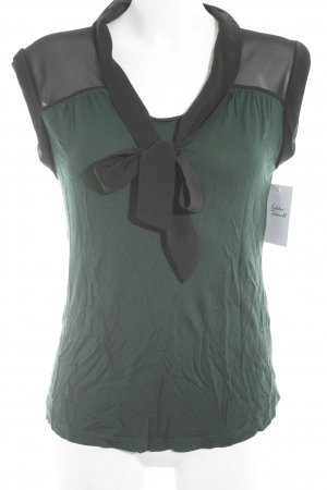 Mint&berry Blusa collo a cravatta nero-verde bosco stile casual