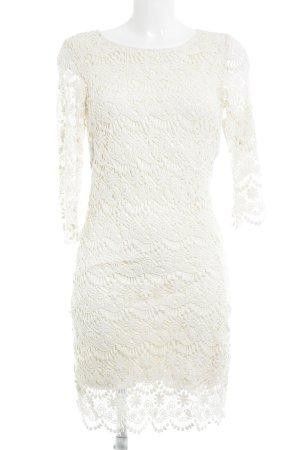 Mint&berry Vestido de encaje blanco puro-crema look nude