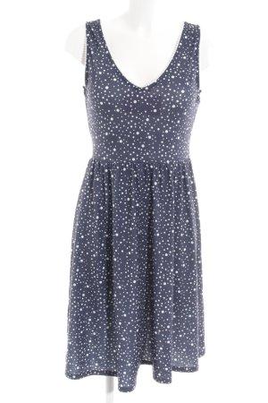 Mint&berry Stretchkleid weiß-dunkelblau Punktemuster klassischer Stil