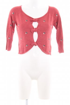 Mint&berry Knitted Bolero brick red flower pattern casual look