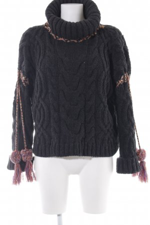 Mint&berry Strickpullover anthrazit Zopfmuster Casual-Look
