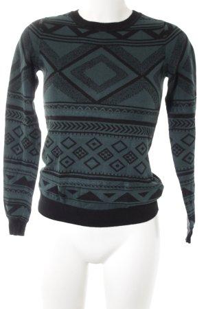 Mint&berry Strickpullover schwarz-dunkelgrün abstraktes Muster Casual-Look