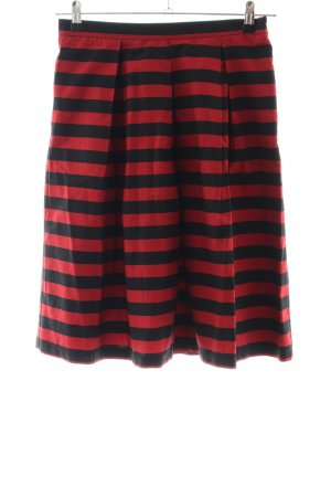 Mint&berry Circle Skirt black-red striped pattern casual look