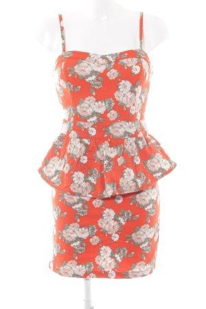 Mint&berry Vestido tipo overol naranja neón estampado floral estilo romántico