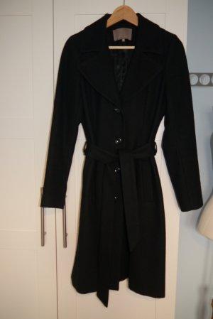 Mint & Berry Woll-Mantel schwarz Gr. 38 mit Bindegürtel