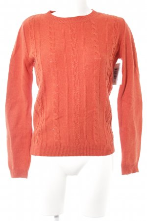 Mint&berry Cable Sweater neon orange cable stitch casual look