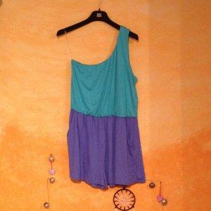Mint Blauer Color Block One-Shoulder Jumpsuit