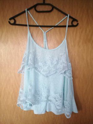 Abercrombie & Fitch Spaghetti Strap Top light blue-turquoise