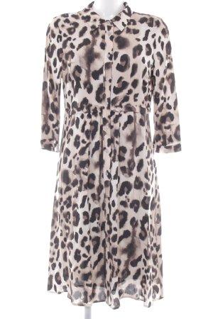 Mint Velvet Langarmkleid schwarz-beige Leomuster Street-Fashion-Look