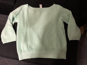 mintgrüner Pullover mit 3/4 Ärmeln