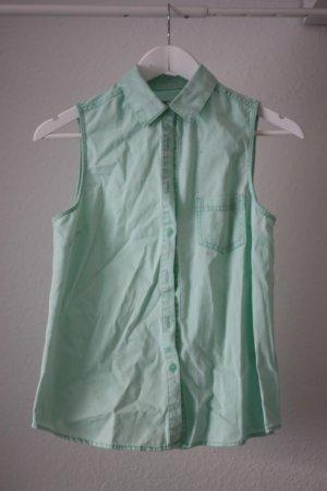 Mintgrünes Jeanshemd Jeansstoff Ärmelloses Hemd