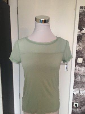 Mintgrünes T-Shirt, H&M, XS mit transparentem Ausschnittdetail