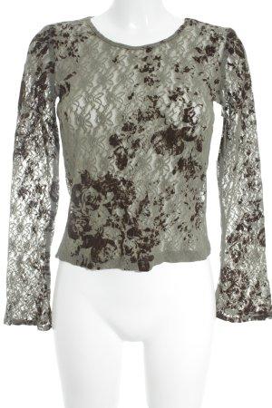 Minx by Eva Lutz Longesleeve olijfgroen-donkerbruin bloemenprint Geweldige look
