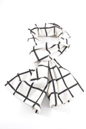 Minx by Eva Lutz Wollen sjaal wit-zwart geruite print zakelijke stijl