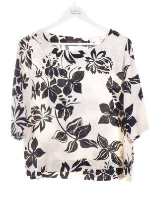 Minx Langarm-Bluse schwarz-creme Blumenmuster Casual-Look