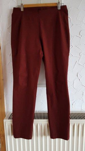 Minx Drainpipe Trousers bordeaux-brown red cotton