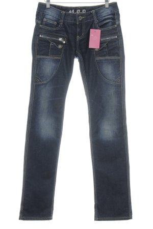 Miracle Of Denim Jeans met rechte pijpen donkerblauw-donkergeel