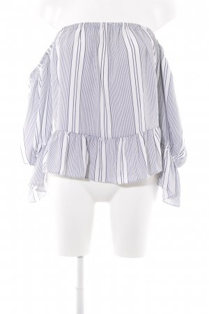 Misa Los Angeles Carmen Blouse white-dark blue striped pattern casual look
