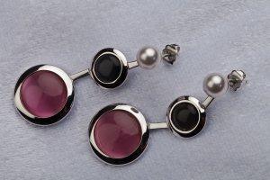 MISAKI Ohrhänger Silber, Schwarz, Pink mit weißer Perle, 5 cm lang