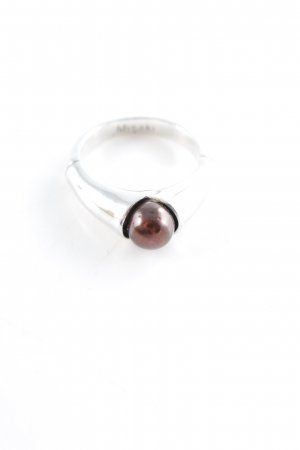 Misaki Silver Ring silver-colored-brown red elegant