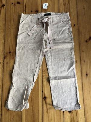 Pantalón de lino crema-camel