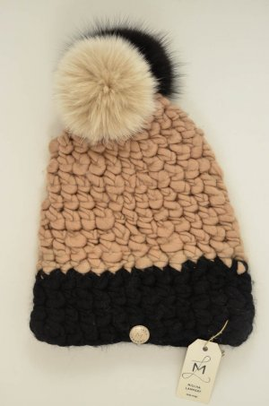 Bobble Hat beige-black wool