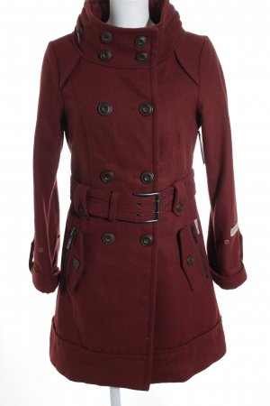 Mishumo Heavy Pea Coat brown red casual look