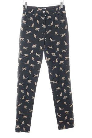 Miss Elegance Drainpipe Trousers animal pattern casual look
