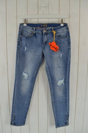 MISS GOODLIFE Damen Jeans Mod.Dépose Cropped Jeans Zip Used Look Gr.30 Neu!