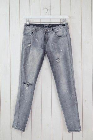 MISS GOODLIFE Damen Jeans Used Look Skinny Grau Stretch Gr.28
