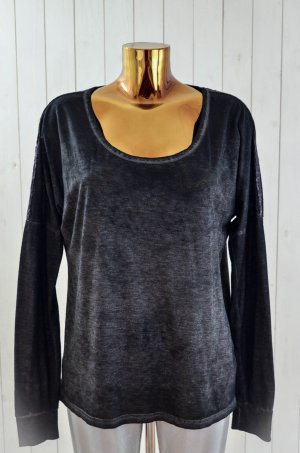 MISS GOODLIFE Damen Shirt Oberteil Used Black Schwarz Anthrazit Pailletten Gr. L