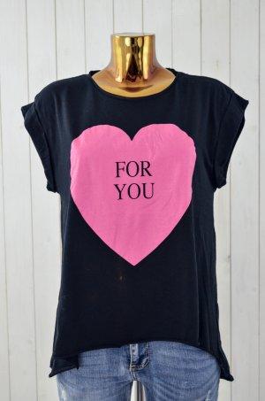 MISS GOODLIFE Damen T-Shirt FOR YOU Schwarz Pink Herz Rundhals Oversize Gr. M