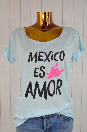 MISS GOODLIFE Damen T-Shirt Hellblau Schwarz Neon-Pink Rundhals Kurzarm Gr.XL