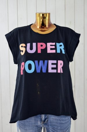 MISS GOODLIFE Damen T-Shirt SUPER POWER Schwarz Bunt Rundhals Oversize Gr. M