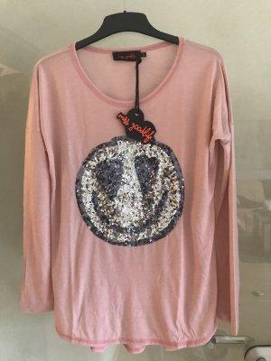 Miss Goodlife Langarm Shirt rosa mit Pailletten Größe S