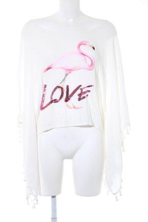 miss goodlife Oversized Shirt weiß-pink platzierter Druck Beach-Look